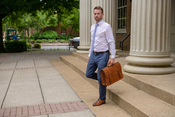 esq. briefcase in saddle tan full grain leather