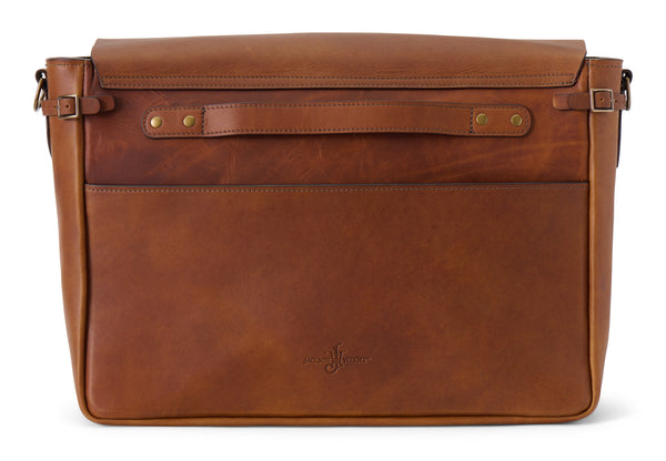 postmaster messenger bag in full grain leather wildwood brown back view
