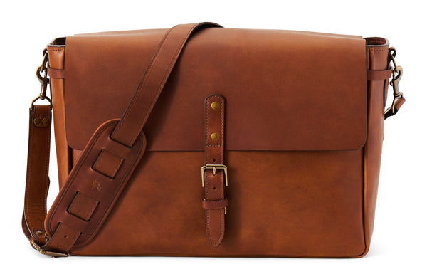 Jackson Wayne leather postmaster messenger bag in wildwood brown full grain leather