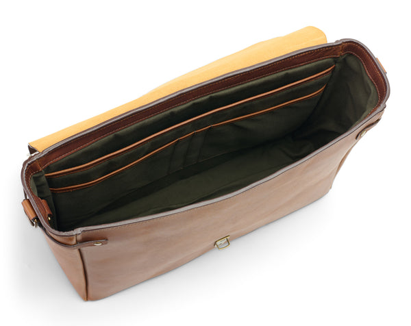 inside empty postmaster messenger bag in full grain leather wildwood brown color