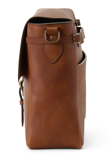 side view postmaster messenger bag in wildwood brown leather
