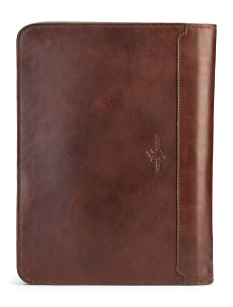 back side of full grain leather portfolio by jackson wayne