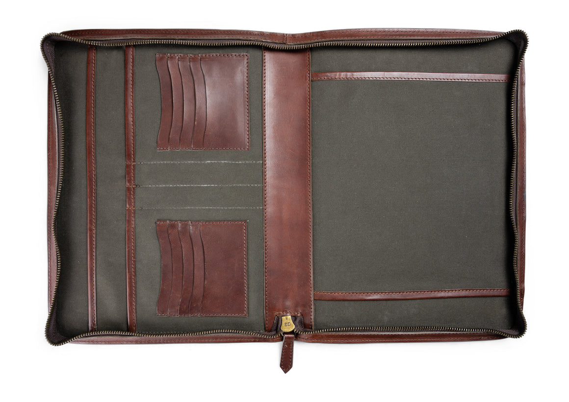 full grain leather portfolio front in vintage brown