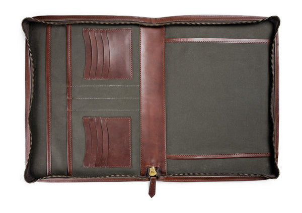 hancock portfolio interior lined with water repellent canvas lining and full grain leather