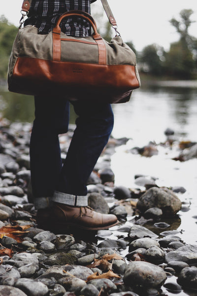 travel duffle bag on the river - made in USA of waxed canvas and vegetable tanned leather by Jackson Wayne