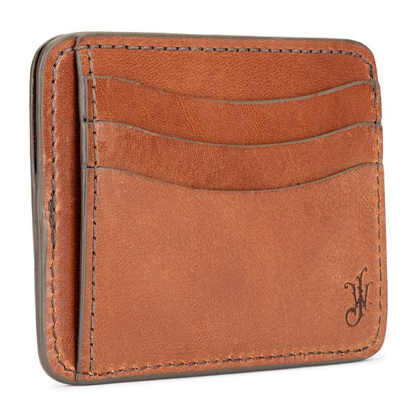 jackson wayne slim full grain leather wallet in saddle tan color