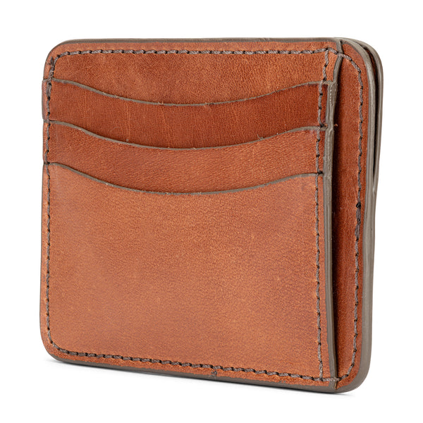 slim vegetable tanned leather wallet in saddle tan color 9 pockets