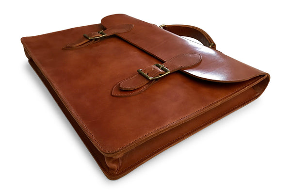 full grain leather document case