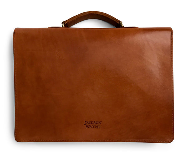 saddle tan slim leather briefcase back