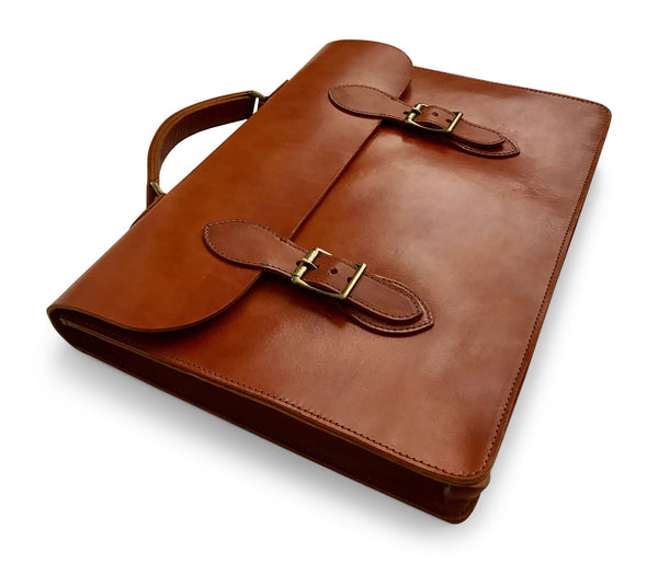 slim leather laptop case in saddle tan