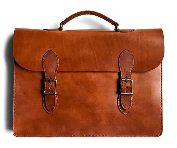 slim briefcase for men made of full grain vegetable tanned leather