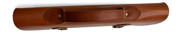 slim leather laptop case in saddle tan top