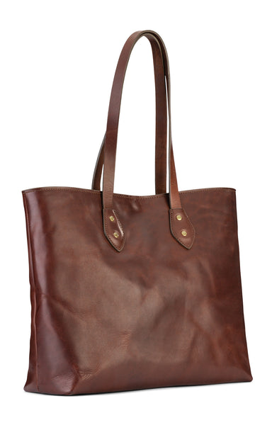 full grain vintage leather tote bag with snap closure by jackson wayne
