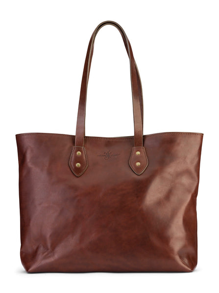vegetable tanned leather tote bag by Jackson Wayne, with water repellent lining and zipper pocket