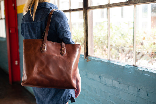 Franklin Market Tote Bag by Jackson Wayne - full grain vegetable tanned leather with canvas lining