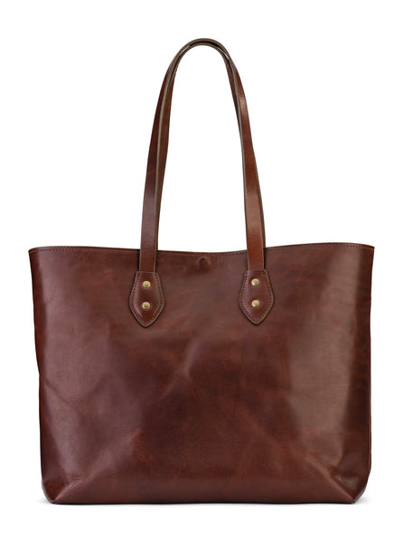 Franklin Market Tote by Jackson Wayne - Full grain leather tote bag in vintage brown