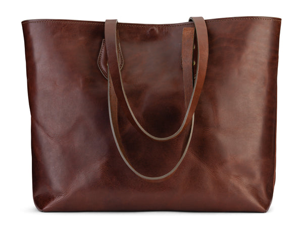 vegetable tanned leather tote bag - Franklin Market Tote