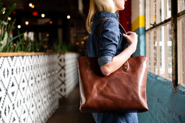 vintage brown leather tote bag by jackson wayne