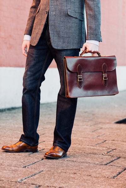 Full grain leather attache laptop case & slim briefcase for men in vintage brown color