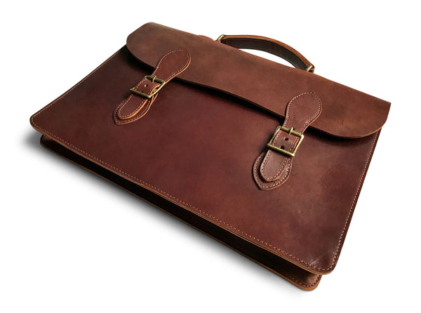 full grain leather document case in vintage brown