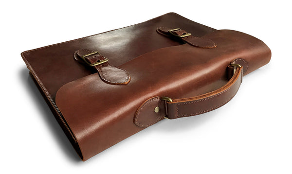 brown leather attache top side