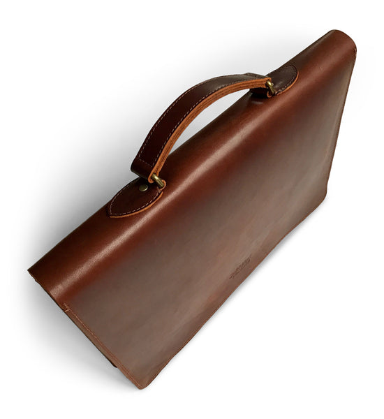 brown leather laptop case & slim briefcase
