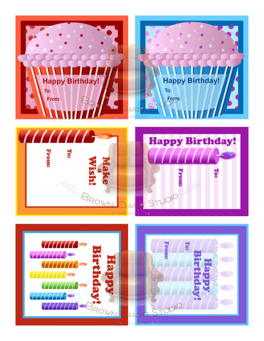 Birthday Gift Tags - Cupcakes and Candles