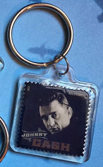 Johnny Cash US Postage Stamp Key Chain