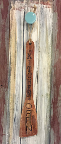 "Wooden Spatula - ""The Kitchen is Open/Closed"" Sign"