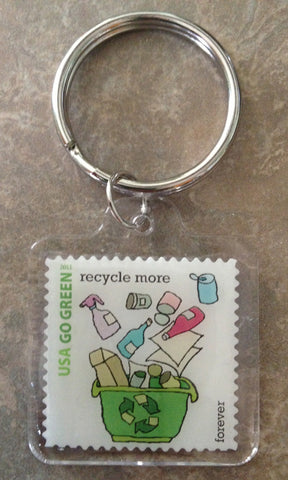 Go Green Stamp Key Chains