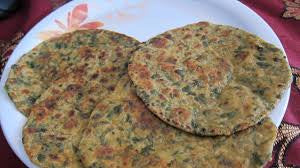 Methi-Bajra Roti Served with Garlic Curds and Chana Masala