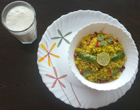 Protien Packed Poha and Ginger-Mint Buttermilk