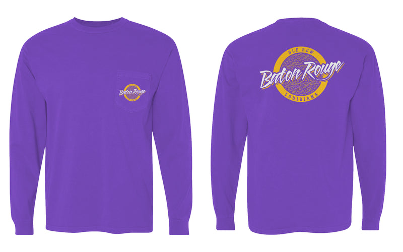 Baton Rouge, Louisiana Circle Logo Longsleeve Pocket Tee