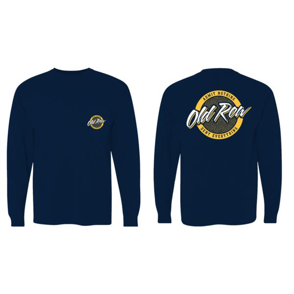 Old Row Tailgate Long Sleeve Pocket Tee V2 (Navy w/ Yellow)
