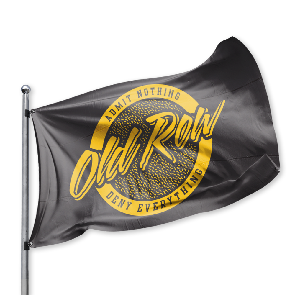 Old Row Retro Circle Flag - Black w/ Gold