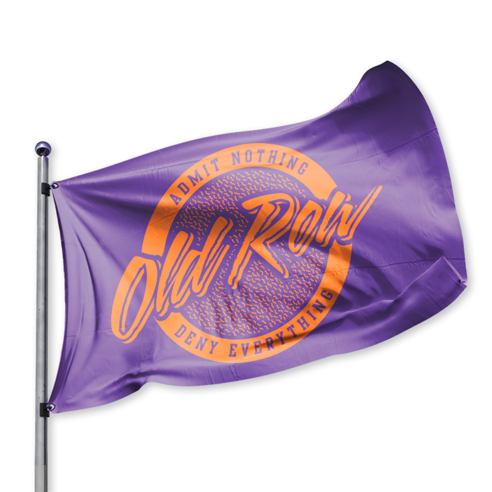 Old Row Retro Circle Tailgate Flag - Purple Orange
