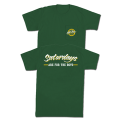 SATURDAYS ARE FOR THE BOYS POCKET TEE - GREEN/YELLOW