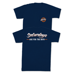 SATURDAYS ARE FOR THE BOYS POCKET TEE - NAVY / ORANGE