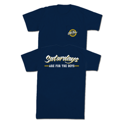 SATURDAYS ARE FOR THE BOYS POCKET TEE - NAVY / YELLOW