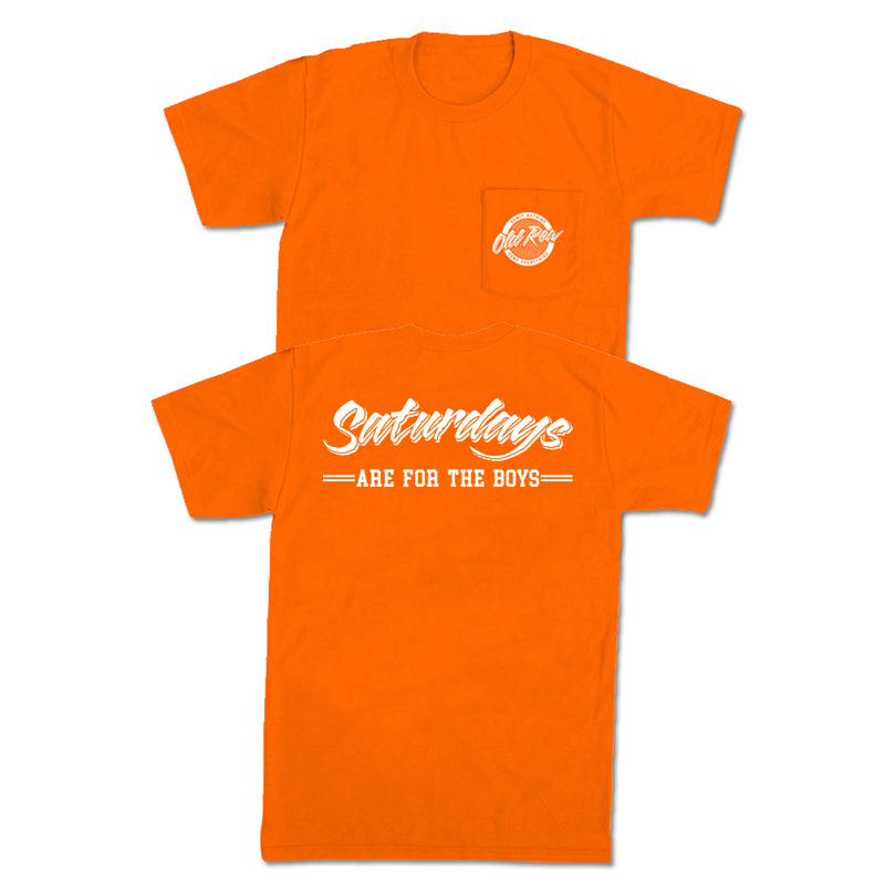 SATURDAYS ARE FOR THE BOYS POCKET TEE - ORANGE