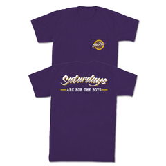 SATURDAYS ARE FOR THE BOYS POCKET TEE - PURPLE / YELLOW