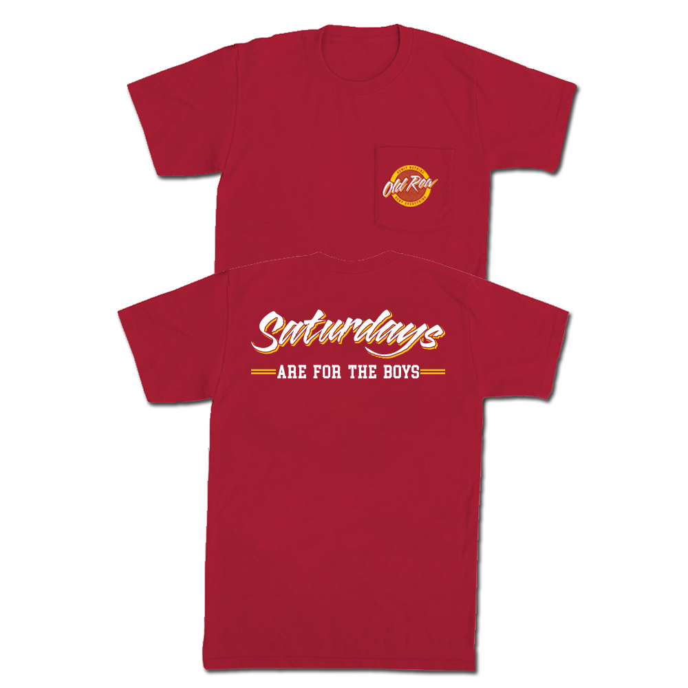 SATURDAYS ARE FOR THE BOYS POCKET TEE - RED / YELLOW
