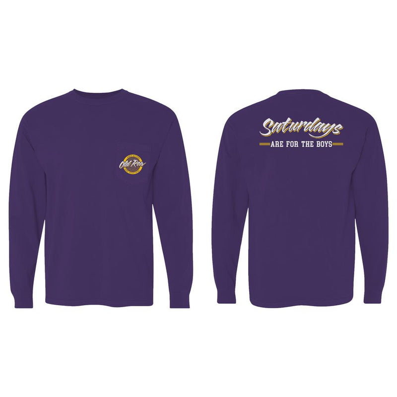 Saturdays are for the Boys Long Sleeve Pocket Tee - Purple / Yellow