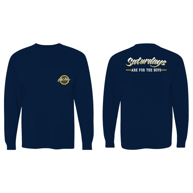 Saturdays are for the Boys Long Sleeve Pocket Tee - navy / yellow