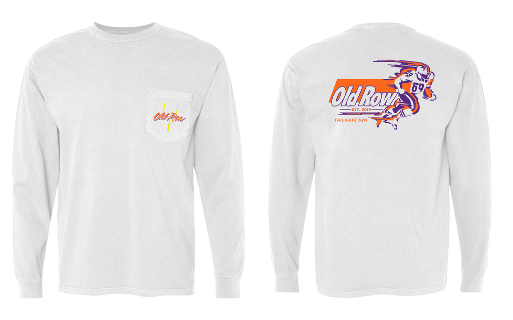 Old Row Tailgate SZN Longsleeve Pocket Tee (Orange/Purple)