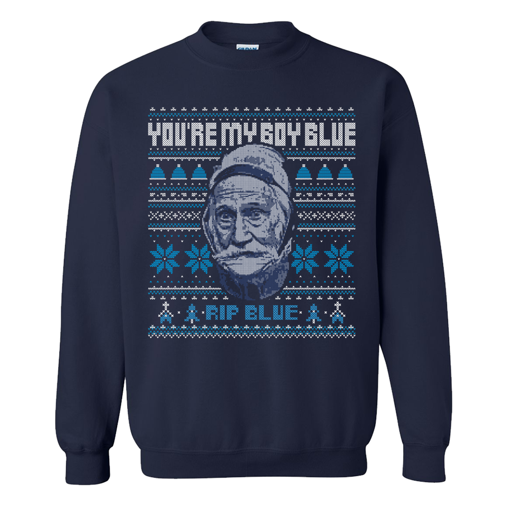 RIP Blue Tacky Christmas Sweater   Old Row