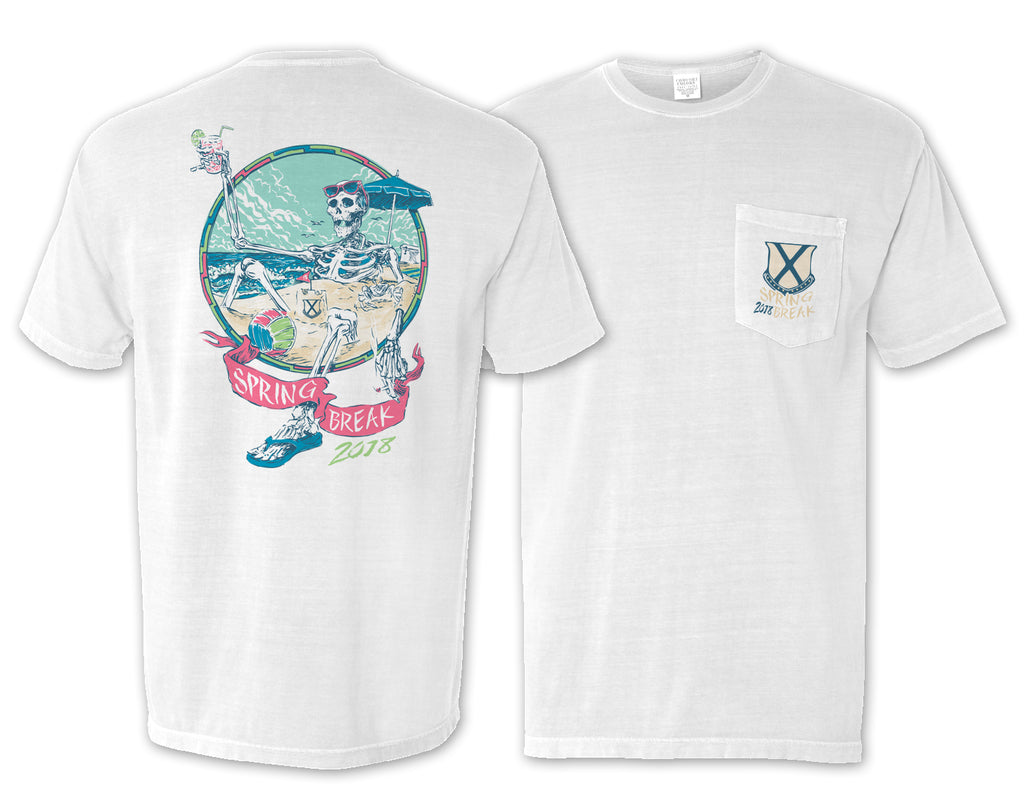 Spring Break Skeleton Pocket Tee