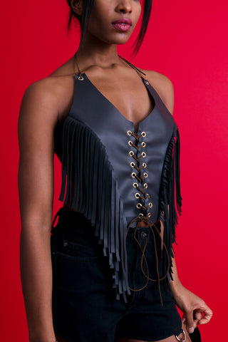 Rhiannon Leather Fringe Halter Top, an upcycled top for women made by Rearrange Us.