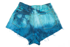 High Waisted Tie Dye Denim Shorts Back
