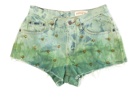 HIGH WAIST DENIM SHORTS // STUDDED